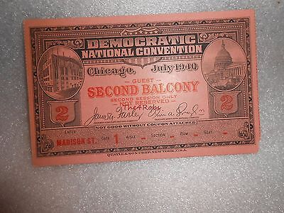 Vintage 1940 Chicago Democratic National Convention Second Balcony Ticket