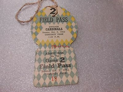 1952 Chicago Cardinals Football Comiskey Park Field Pass Ticket