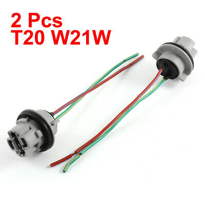 2 Pcs T20 W21W 7440 LED Bulb Socket Car Light Harness Wire for Car