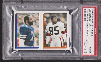 1986 Topps Sticker Ed Too Tall Jones Clarence Weathers #41 191 Cowboys PSA 9 *