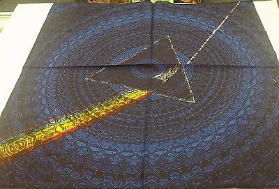 PINK FLOYD DARK SIDE OF THE MOON SHADOW BLUE BANDANA HANKY 100% Cotton Licensed