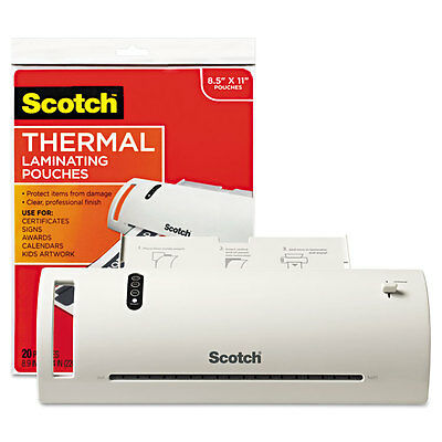 """Scotch Thermal Laminator Value Pack, 9"""" W, W/20 Letter Size Pouches"""