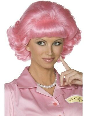 Frenchy Pink Wig Official Licensed Grease 50s Frenchie Womens Fancy Dress