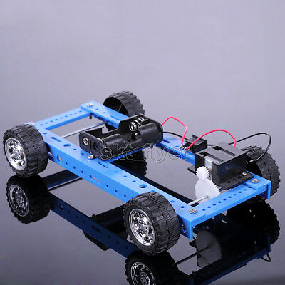 Blue Electric Driver Car Educational DIY Hobby Robotic Toy Model Automation Kits