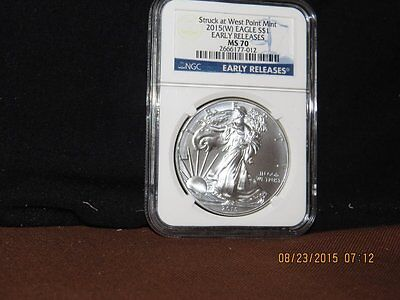 Ngc Slabbed 2015-W Ms 70 Early Release American Silver Eagle-Perfect!