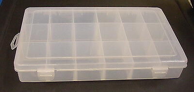 18 Compartment Plastic Jewelry Beads Sewing Buttons Craft Storage Containers Box