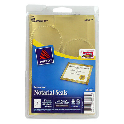 """""""Avery Printable Gold Foil Seals, 2"""""""" Dia, 44/pack"""""""