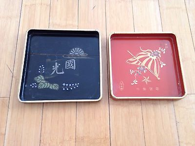 2 antique wooden lacquer Sake Trays set vintage WWII japanese black red old