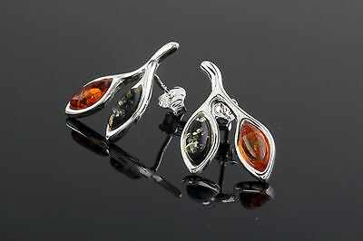 Baltic Amber Leaves Earrings 925 Sterling Silver Multi Coloured Amber New Boxed