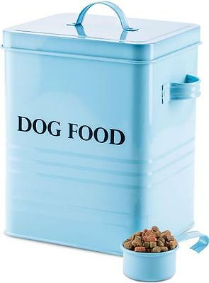 Andrew James Vintage Dog Food & Treat Storage Tin Box Container Retro Blue