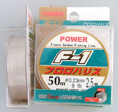 F1 Fishing Line 100% Fluorocarbon Leader 8Lb 50M Trace Japanese Monofilament