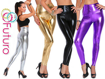Wet Look Leggings High Waist Sexy Shiny Full Length Faux Leather Sizes 8 - 20