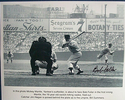 Signed 1951 Hall of Famers Bob Feller & Yankees Mickey Mantle 8x10 with hologram