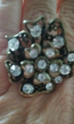 NEW Brass Bronze Tone RHINESTONE  LARGE RING ADJUSTABLE SHIPS TODAY STUNNING  !