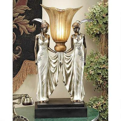 Art Deco Elegant Tabletop Torchiere Peacock Maidens Lamp Illuminated Sculpture