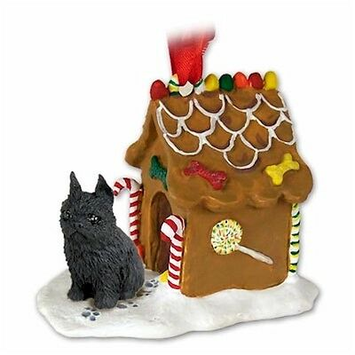 Realistic Hand Painted Black  Brussels Griffon Gingerbread House Ornament