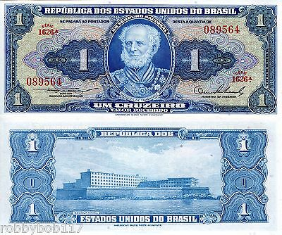 BRAZIL 1 Cruzeiro Banknote World Paper Money Currency p150a 1954-58 BILL Note