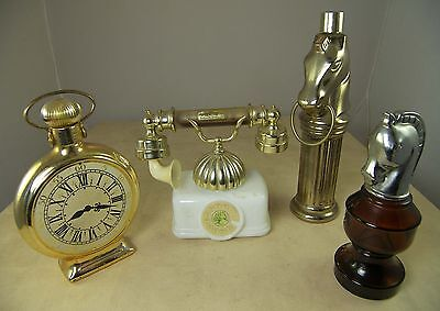 4 Vintage AVON BOTTLES French Telephone Pocket Watch Hitching Post Smart Move2