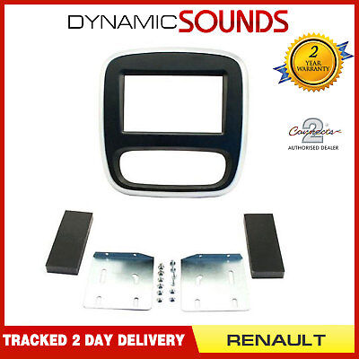 CT23RT10 Silver & Grey Double Din Fascia Fitting Panel For Renault Trafic 2014>
