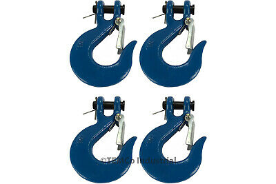 "4x 1/4"" Chain Slip Safety Latch Hook Clevis Rigging Tow Winch Trailer Grade 70"