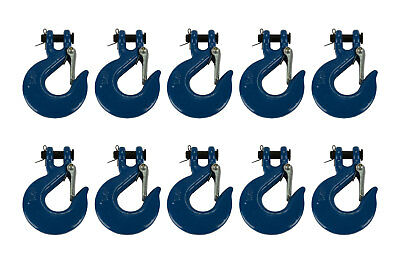 """10x 5/16"""" Chain Slip Safety Latch Hook Clevis Rigging Tow Winch Trailer Grade 70"""