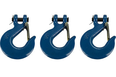 """3x 3/8"""" Chain Slip Safety Latch Hook Clevis Rigging Tow Winch Trailer Grade 70"""