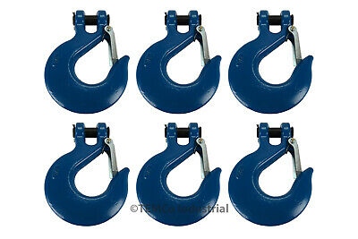 "6x 3/4"" Chain Slip Safety Latch Hook Clevis Rigging Tow Winch Trailer Grade 70"