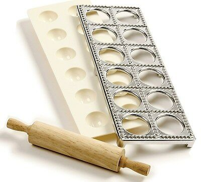 Norpro 1241 Ravioli Maker With Press Pasta Dough Mold Tool and Rolling Pin