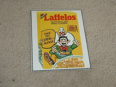 1982 Topps Wacky Packages Cereal Box Panel Laffelos RARE!