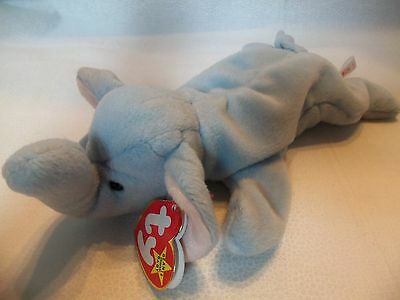 TY Beanie Babies Baby Blue Elephant ** PEANUT ** 4th Generation New w/ Tag