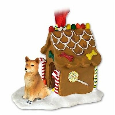 Realistic Elegant Hand Painted Finnish Spitz Gingerbread House Ornament