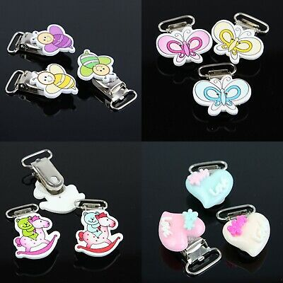 10PCs Infant Baby  Pacifier Holders Suspender Clips Dummy Nipples  Funny