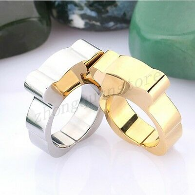 Size 6/7/8/9 Stainless Steel Bear Ring Gold/Silver Band Women's Fashion Jewelry