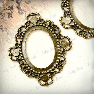 5 Flat Oval Cabochon Setting Links Antique Brass TS7376