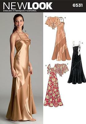 NEW LOOK SEWING PATTERN Misses Bias Evening Gowns & Capelet SIZE 6 - 16   6531