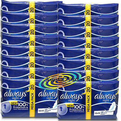 16x 20 Always Ultra Night With Wings Sanitary Pads