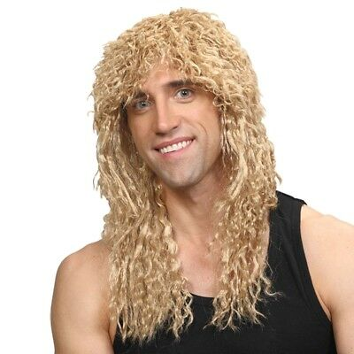 Rockstar Wig Blonde Mens Long Curly 1980s Perm Fancy Dress Wig