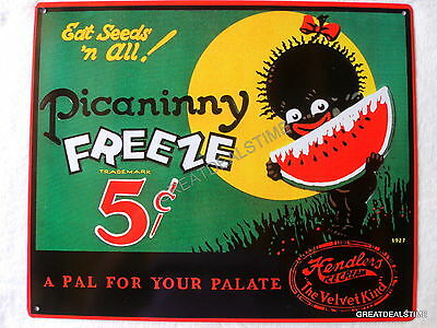 Black Americana Tin/Metal Poster Advertising Sign,Vintage Watermelon Ice Cream