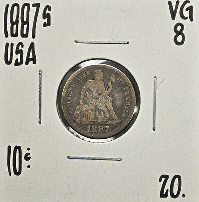 1887-s United States One Dime VG-8