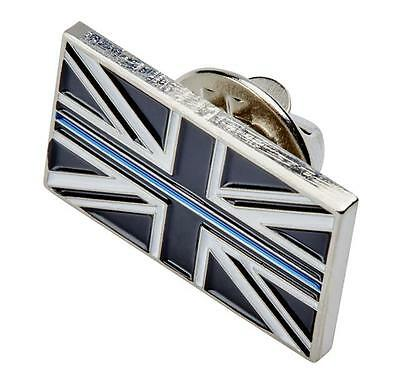 Thin Blue Line Uk Union Jack Police Mourning Band Lapel Pin Tie Badge