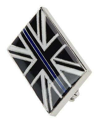 Thin Blue Line Uk Union Jack Police Mourning Band Enamel Lapel Brooch Tie Badge