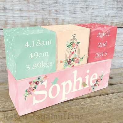 NURSERY DECOR Personalised Wooden Name Birth Blocks Floral Water Colour