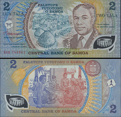 Western Samoa 2Tala AAB First Polymer Design Error variety banknote Issue p31b