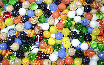 NEW 100 MIXED 16mm GLASS MARBLES TRADITIONAL GAME or COLLECTORS ITEMS HOM