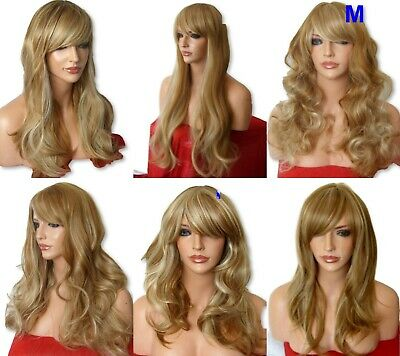 BROWN BLONDE wig Curly Layered straight WOMEN LADIES FASHION LONG WIG #12/613