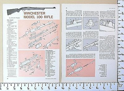 1965 WINCHESTER Model 100 Automatic Rifle EXPLODED VIEWS Magazine Article 3240