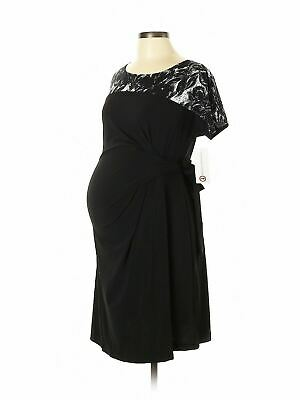 New Japanese Weekend Maternity Navy Blue Luxe Jersey Side Sweep Dress XL 16 18