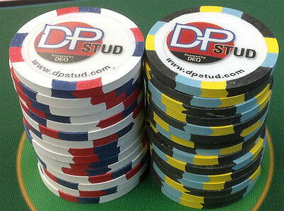 30 DEQ DP STUD CLAY BLUE CHIP POKER CHIPS casino quality FREE SHIPPING