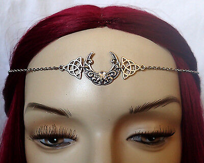 CELTIC Triquetra Wicca Crescent Trinity Moon Circlet Headpiece Crown Headdress