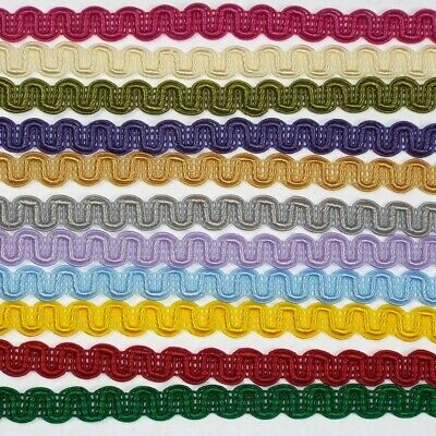 39 COLOURS -- Beautiful 10mm Gimp Scroll Braid. Upholstery Costumes Cards Blinds